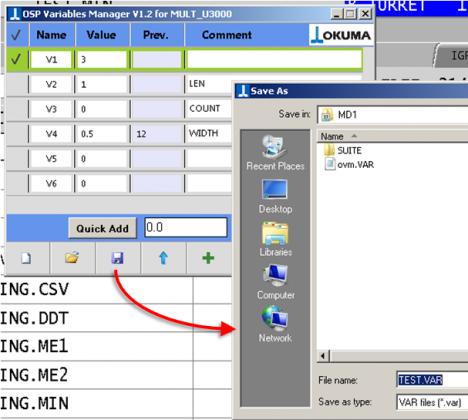 Okuma Apps | OSP Variables Manager